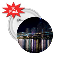 Cleveland Building City By Night 2 25  Buttons (10 Pack)