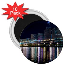 Cleveland Building City By Night 2 25  Magnets (10 Pack)
