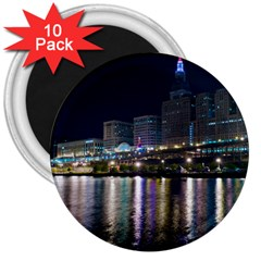 Cleveland Building City By Night 3  Magnets (10 pack)