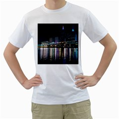 Cleveland Building City By Night Men s T Shirt (white) (two Sided)