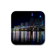 Cleveland Building City By Night Rubber Coaster (square)