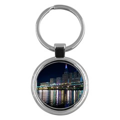Cleveland Building City By Night Key Chains (round)
