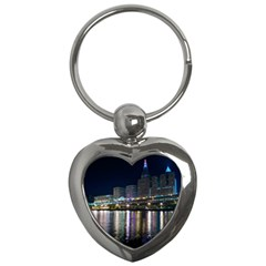 Cleveland Building City By Night Key Chains (heart)