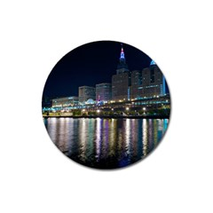 Cleveland Building City By Night Magnet 3  (round)