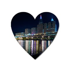 Cleveland Building City By Night Heart Magnet