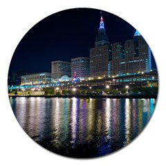 Cleveland Building City By Night Magnet 5  (round)