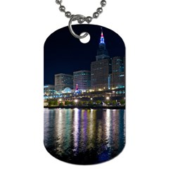 Cleveland Building City By Night Dog Tag (one Side)