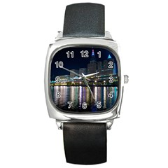 Cleveland Building City By Night Square Metal Watch