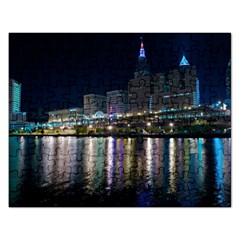 Cleveland Building City By Night Rectangular Jigsaw Puzzl