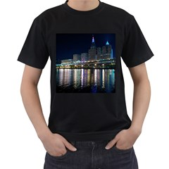 Cleveland Building City By Night Men s T Shirt (black) (two Sided)
