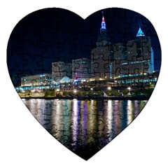 Cleveland Building City By Night Jigsaw Puzzle (heart)