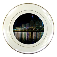 Cleveland Building City By Night Porcelain Plates