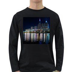 Cleveland Building City By Night Long Sleeve Dark T Shirts