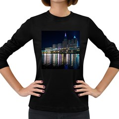 Cleveland Building City By Night Women s Long Sleeve Dark T Shirts