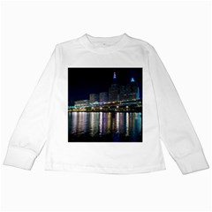 Cleveland Building City By Night Kids Long Sleeve T-Shirts