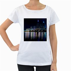 Cleveland Building City By Night Women s Loose Fit T Shirt (white)