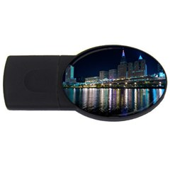 Cleveland Building City By Night USB Flash Drive Oval (4 GB)