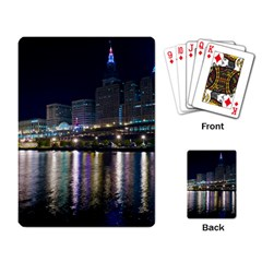 Cleveland Building City By Night Playing Card