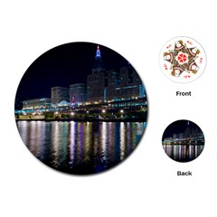 Cleveland Building City By Night Playing Cards (Round)