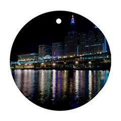 Cleveland Building City By Night Round Ornament (two Sides)