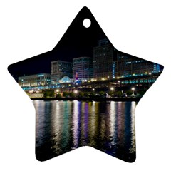 Cleveland Building City By Night Star Ornament (two Sides)
