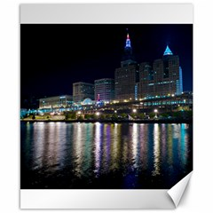 Cleveland Building City By Night Canvas 8  x 10