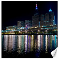Cleveland Building City By Night Canvas 12  X 12