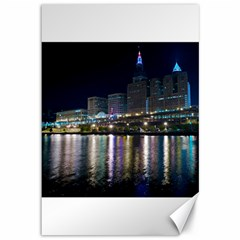 Cleveland Building City By Night Canvas 12  X 18