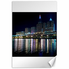 Cleveland Building City By Night Canvas 24  X 36