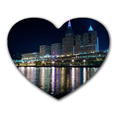 Cleveland Building City By Night Heart Mousepads