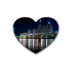 Cleveland Building City By Night Rubber Coaster (heart)