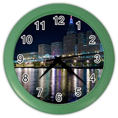 Cleveland Building City By Night Color Wall Clocks
