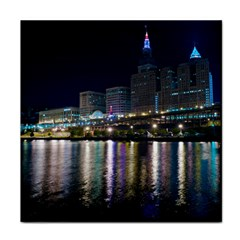 Cleveland Building City By Night Face Towel