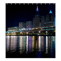 Cleveland Building City By Night Shower Curtain 66  X 72  (large)
