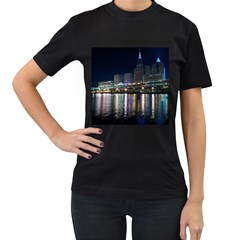 Cleveland Building City By Night Women s T-Shirt (Black)