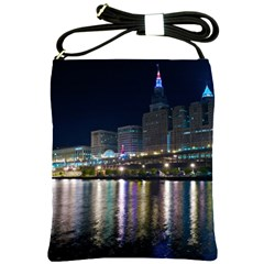 Cleveland Building City By Night Shoulder Sling Bags