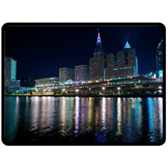 Cleveland Building City By Night Fleece Blanket (large)