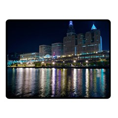 Cleveland Building City By Night Fleece Blanket (small)