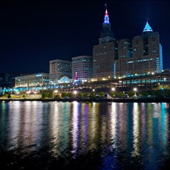 Cleveland Building City By Night Magic Photo Cubes