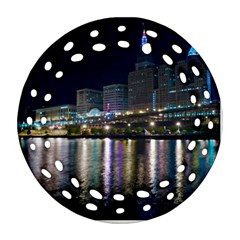 Cleveland Building City By Night Round Filigree Ornament (two Sides)