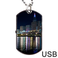 Cleveland Building City By Night Dog Tag Usb Flash (two Sides)