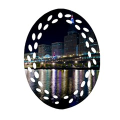 Cleveland Building City By Night Ornament (oval Filigree)