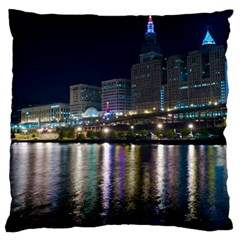 Cleveland Building City By Night Large Cushion Case (one Side)