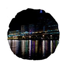 Cleveland Building City By Night Standard 15  Premium Round Cushions