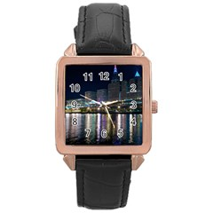 Cleveland Building City By Night Rose Gold Leather Watch