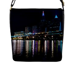Cleveland Building City By Night Flap Messenger Bag (l)