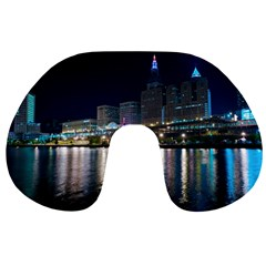 Cleveland Building City By Night Travel Neck Pillows