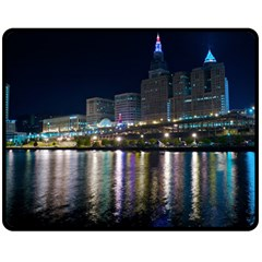 Cleveland Building City By Night Double Sided Fleece Blanket (medium)