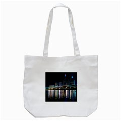 Cleveland Building City By Night Tote Bag (white)