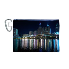 Cleveland Building City By Night Canvas Cosmetic Bag (m)